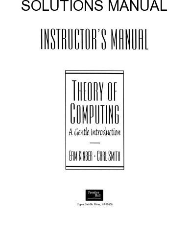 Instructor's manual Theory of Computing