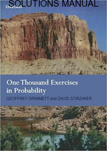 Solutions Manual One Thousand Exercises In Probability 1st edition by Grimmett & Stirzake