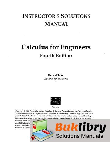 Solutions Manual of Calculus for Engineers by Trim   4th edition