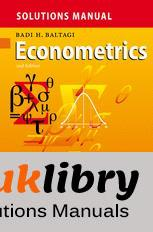 Solutions Manual of Econometrics by Baltagi   2nd edition