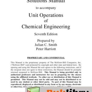 Solutions Manual of Unit Operations of Chemical Engineering by McCabe & Smith | 7th edition