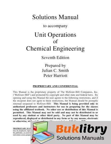 Solutions Manual of Unit Operations of Chemical Engineering by McCabe & Smith   7th edition