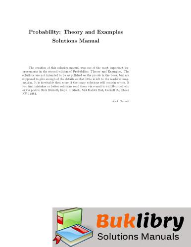 Solutions Manual of Probability: Theory and Examples by Durrett | 1st edition