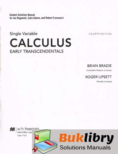 Solutions Manual of Calculus Early Transcendentals by Rogawski & Adams   4th edition